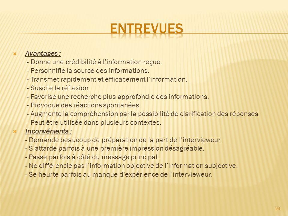 Avantages : - Donne une crédibilité à linformation reçue. - Personnifie la source des informations. - Transmet rapidement et efficacement linformation
