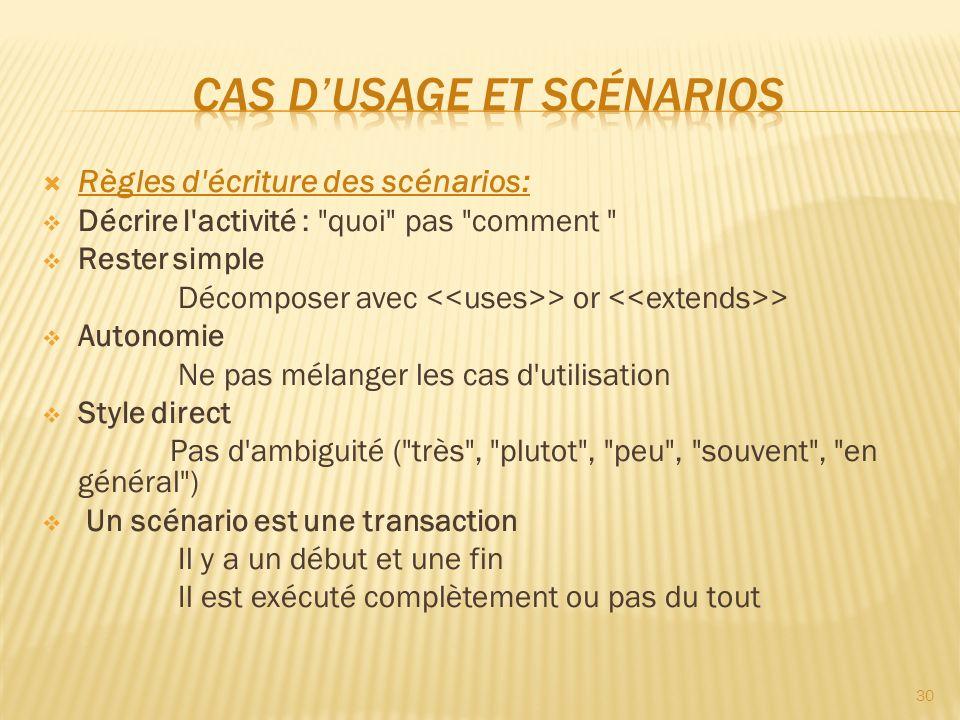 Règles d'écriture des scénarios: Décrire l'activité :