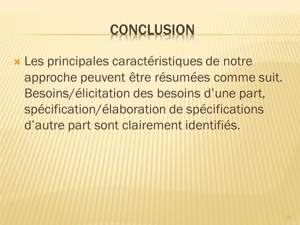 Les principales caractéristiques de notre approche peuvent être résumées comme suit. Besoins/élicitation des besoins dune part, spécification/élaborat