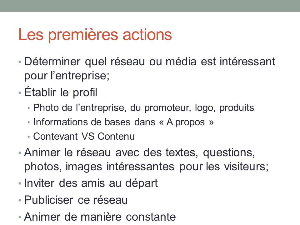 Les premières actions Déterminer quel réseau ou média est intéressant pour lentreprise; Établir le profil Photo de lentreprise, du promoteur, logo, pr