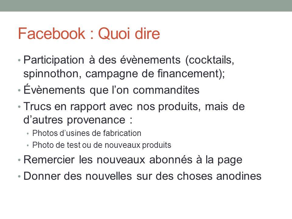 Facebook : Quoi dire Participation à des évènements (cocktails, spinnothon, campagne de financement); Évènements que lon commandites Trucs en rapport