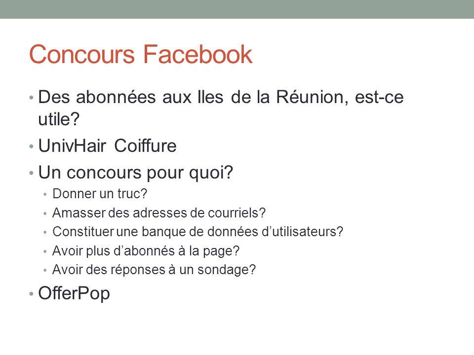 Concours Facebook Des abonnées aux Iles de la Réunion, est-ce utile? UnivHair Coiffure Un concours pour quoi? Donner un truc? Amasser des adresses de
