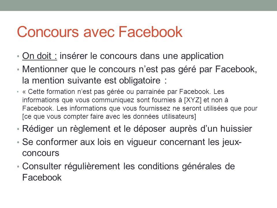 Concours avec Facebook On doit : insérer le concours dans une application Mentionner que le concours nest pas géré par Facebook, la mention suivante e