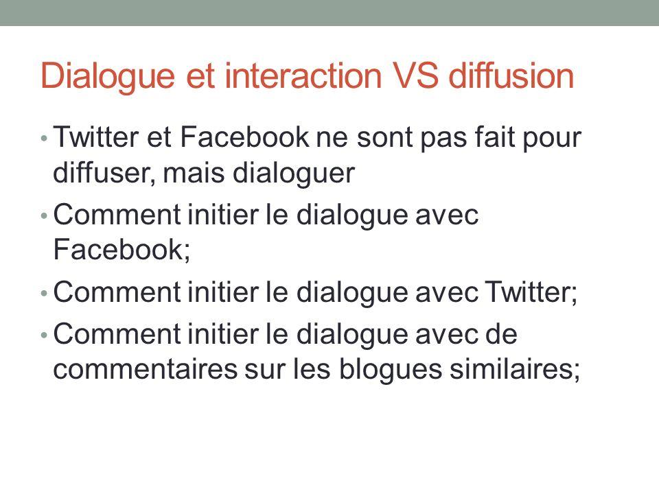 Dialogue et interaction VS diffusion Twitter et Facebook ne sont pas fait pour diffuser, mais dialoguer Comment initier le dialogue avec Facebook; Com