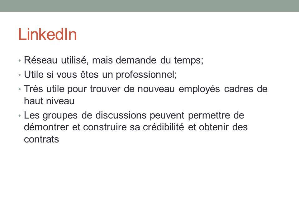 LinkedIn Réseau utilisé, mais demande du temps; Utile si vous êtes un professionnel; Très utile pour trouver de nouveau employés cadres de haut niveau