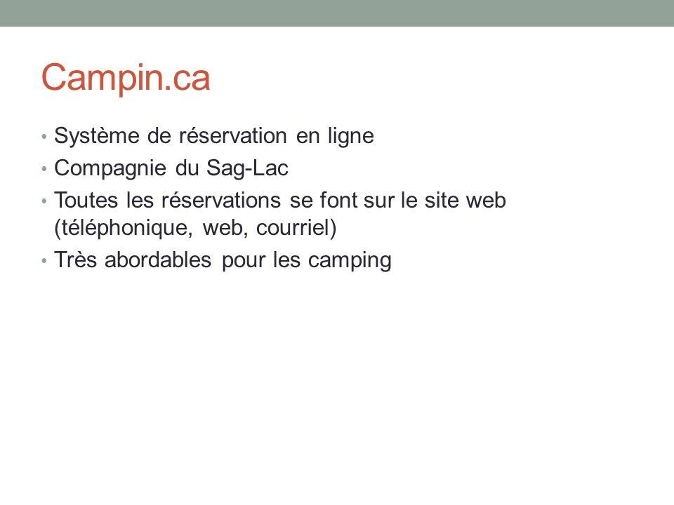 Campin.ca Système de réservation en ligne Compagnie du Sag-Lac Toutes les réservations se font sur le site web (téléphonique, web, courriel) Très abor