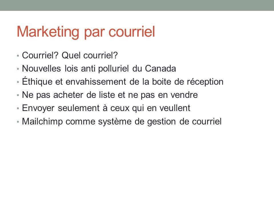 Marketing par courriel Courriel? Quel courriel? Nouvelles lois anti polluriel du Canada Éthique et envahissement de la boite de réception Ne pas achet