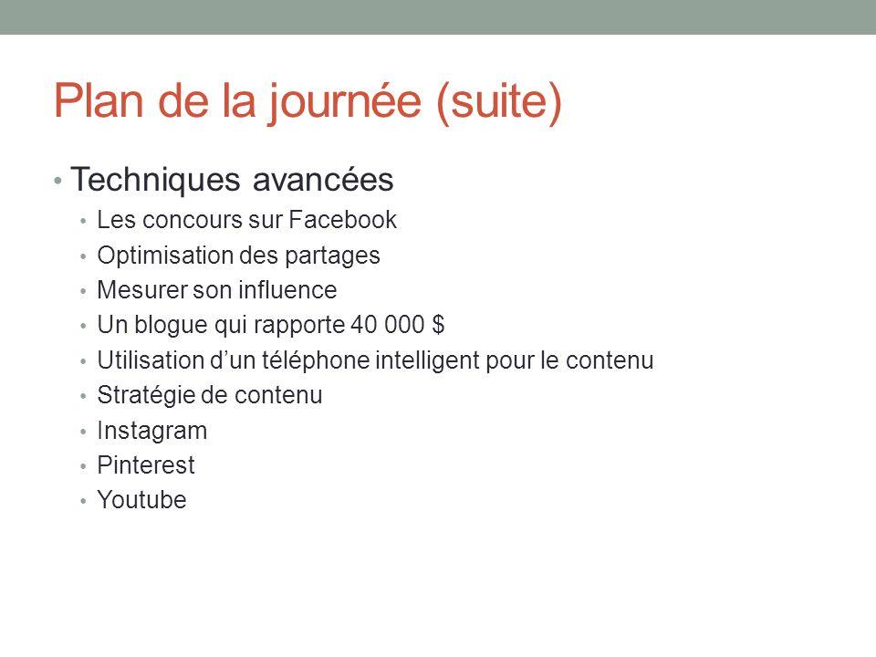 Plan de la journée (suite) Techniques avancées Les concours sur Facebook Optimisation des partages Mesurer son influence Un blogue qui rapporte 40 000