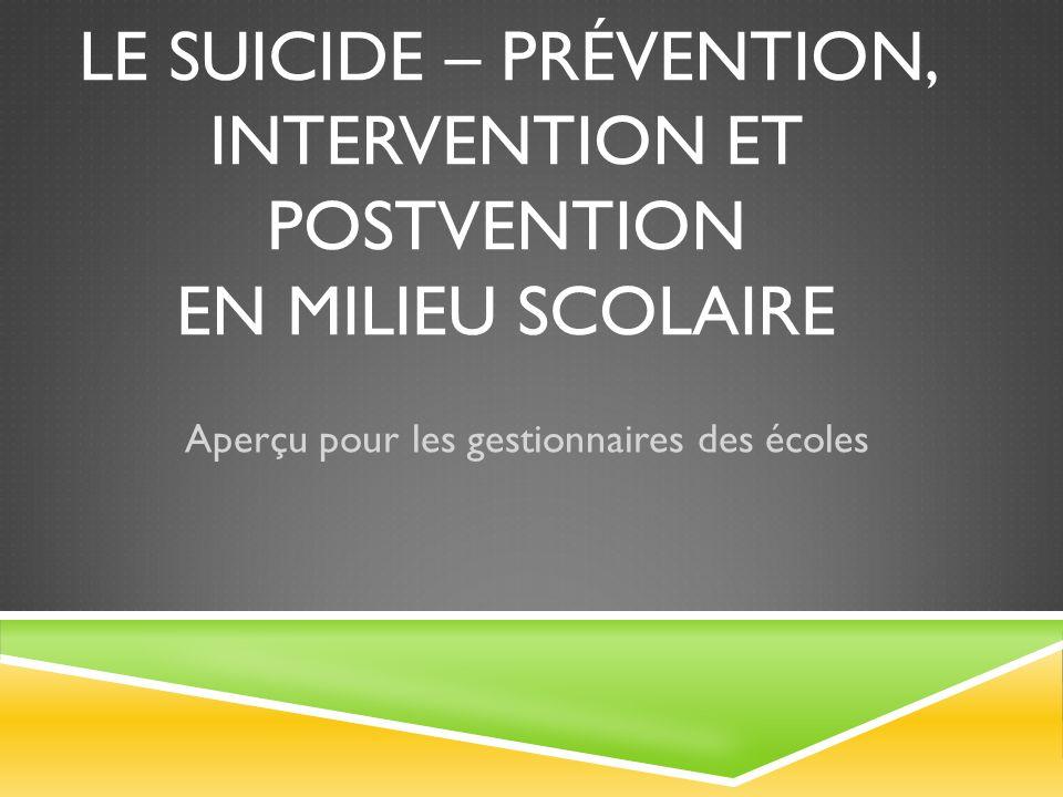LE SUICIDE - PRÉVENTION, INTERVENTION, POSTVENTION Stratégies
