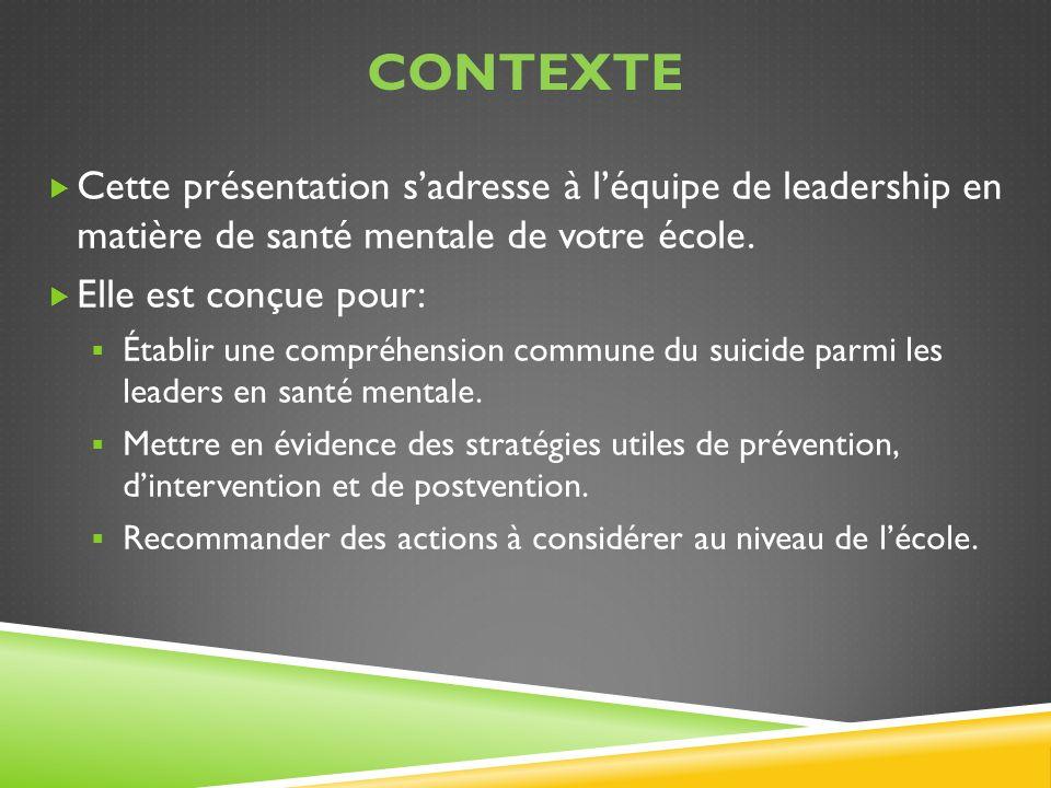 CONTEXTE Cette présentation sadresse à léquipe de leadership en matière de santé mentale de votre école. Elle est conçue pour: Établir une compréhensi