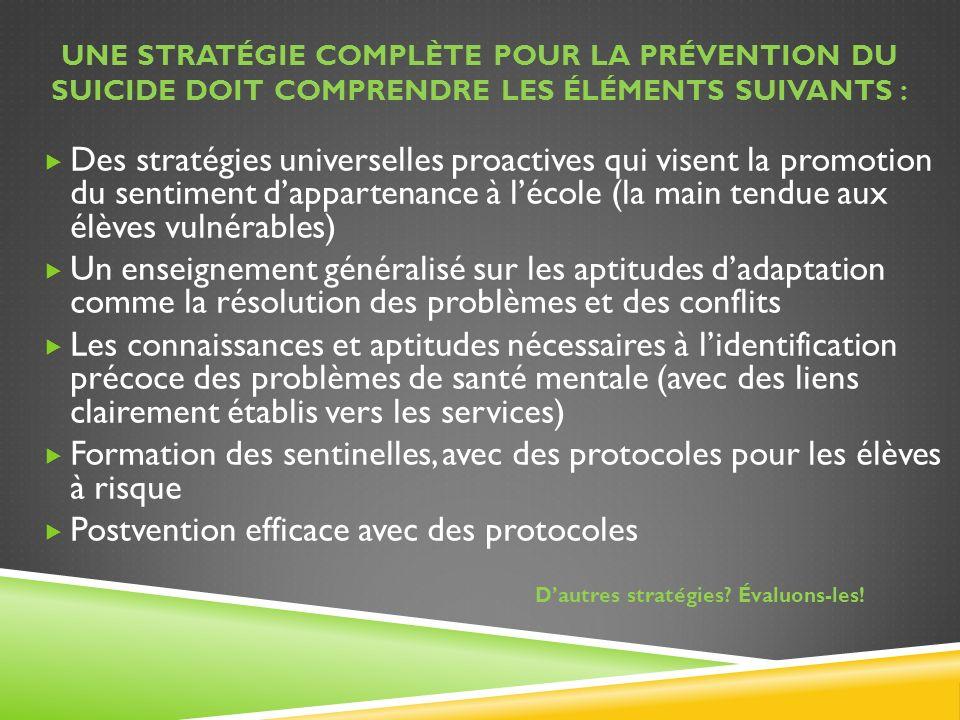 UNE STRATÉGIE COMPLÈTE POUR LA PRÉVENTION DU SUICIDE DOIT COMPRENDRE LES ÉLÉMENTS SUIVANTS : Des stratégies universelles proactives qui visent la prom