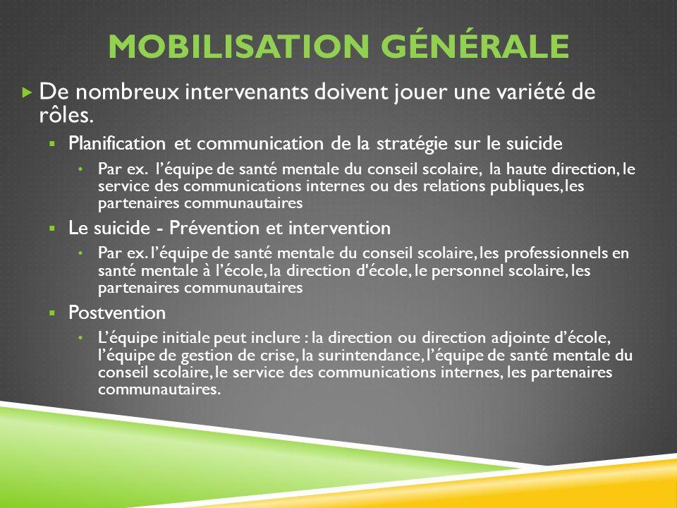 MOBILISATION GÉNÉRALE De nombreux intervenants doivent jouer une variété de rôles. Planification et communication de la stratégie sur le suicide Par e