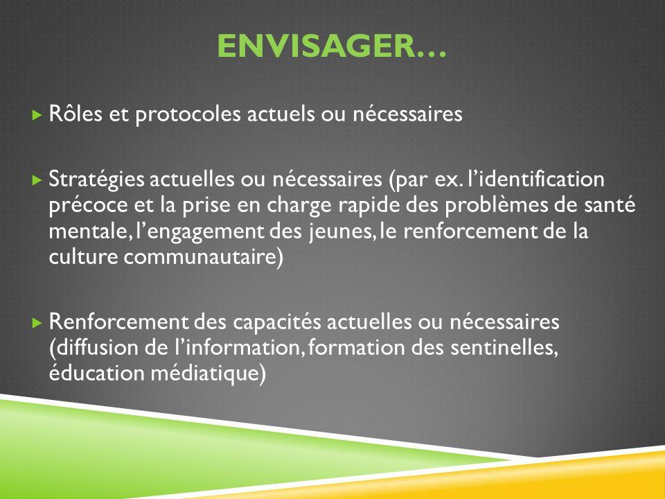 ENVISAGER… Rôles et protocoles actuels ou nécessaires Stratégies actuelles ou nécessaires (par ex. lidentification précoce et la prise en charge rapid