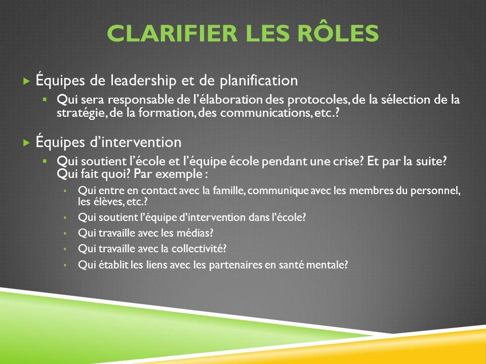 CLARIFIER LES RÔLES Équipes de leadership et de planification Qui sera responsable de lélaboration des protocoles, de la sélection de la stratégie, de