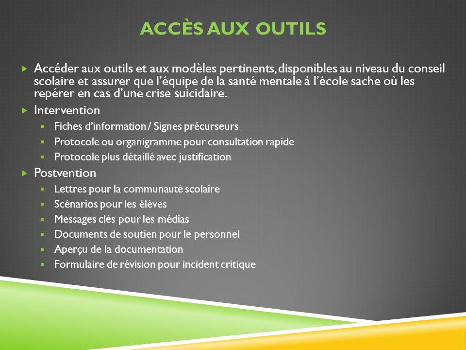 ACCÈS AUX OUTILS Accéder aux outils et aux modèles pertinents, disponibles au niveau du conseil scolaire et assurer que léquipe de la santé mentale à