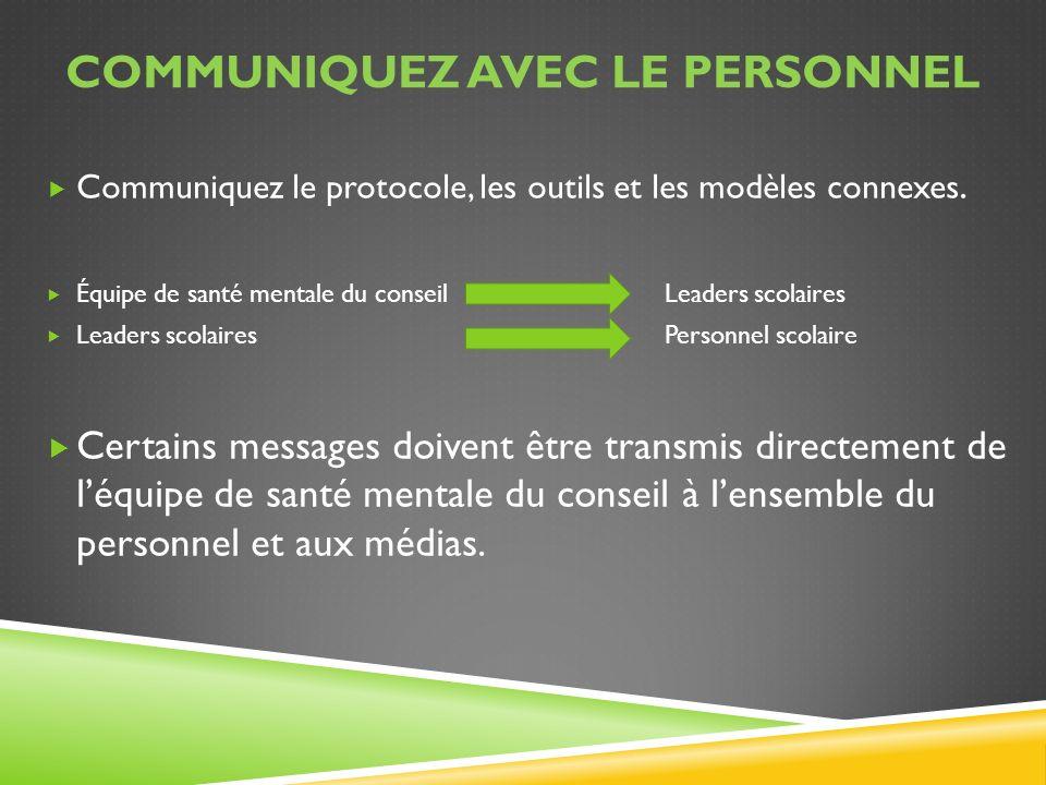 COMMUNIQUEZ AVEC LE PERSONNEL Communiquez le protocole, les outils et les modèles connexes. Équipe de santé mentale du conseil Leaders scolaires Leade