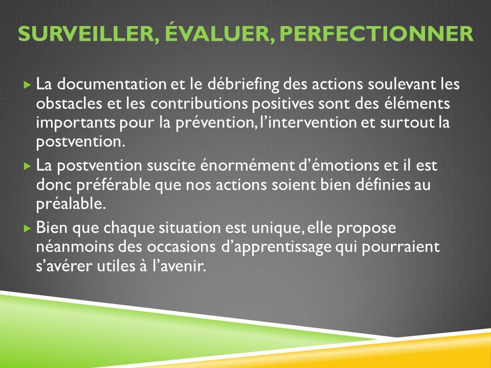 SURVEILLER, ÉVALUER, PERFECTIONNER La documentation et le débriefing des actions soulevant les obstacles et les contributions positives sont des éléme
