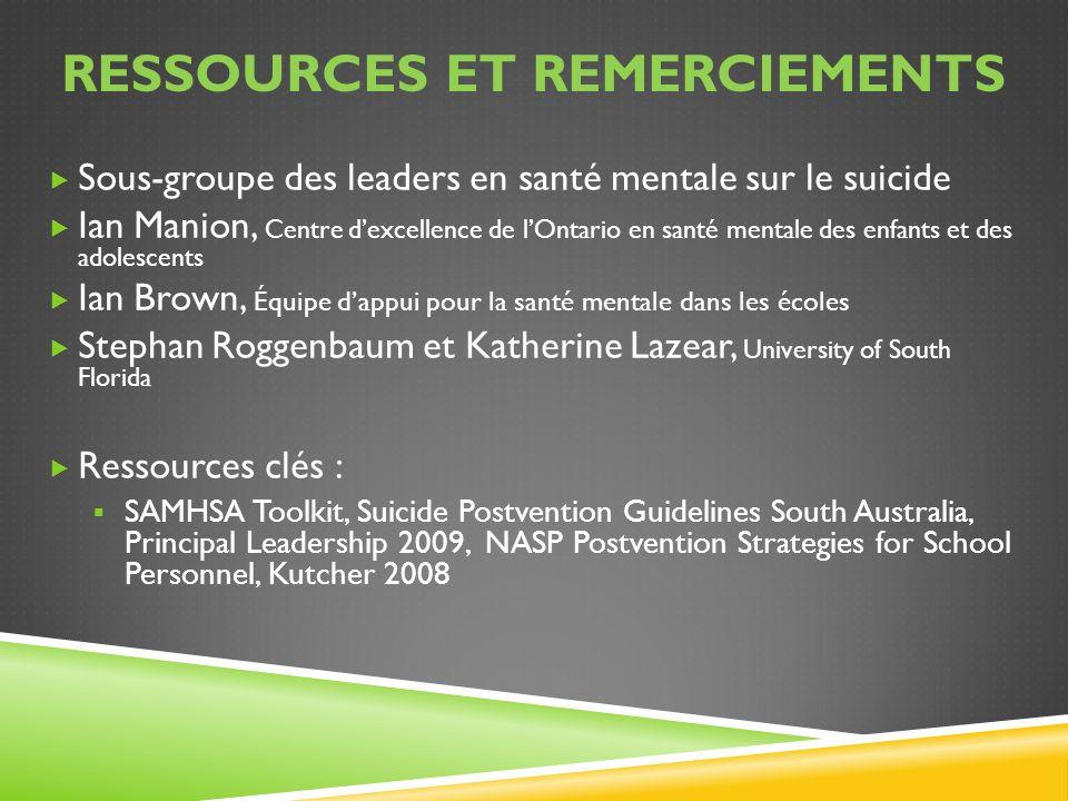 RESSOURCES ET REMERCIEMENTS Sous-groupe des leaders en santé mentale sur le suicide Ian Manion, Centre dexcellence de lOntario en santé mentale des en