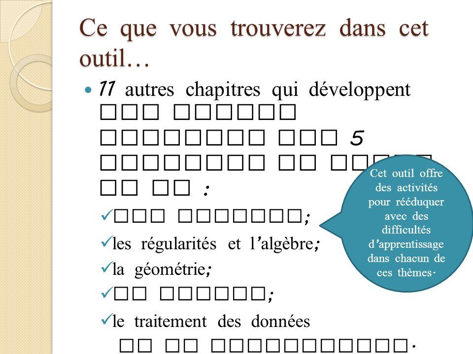 Ce que vous trouverez dans cet outil… 11 autres chapitres qui développent les grands concepts des 5 domaines du MEDPE du NB : les nombres ; les régula