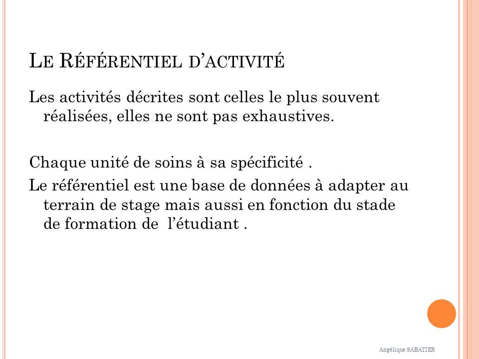 L E R ÉFÉRENTIEL D ACTIVITÉ Les activités décrites sont celles le plus souvent réalisées, elles ne sont pas exhaustives.