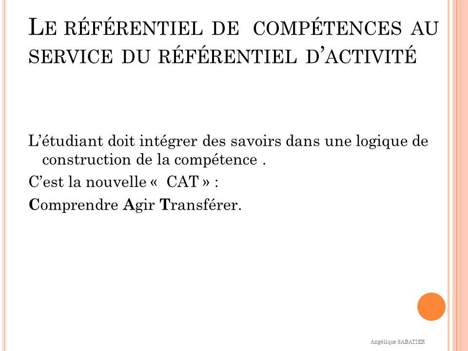 L E RÉFÉRENTIEL DE COMPÉTENCES AU SERVICE DU RÉFÉRENTIEL D ACTIVITÉ Létudiant doit intégrer des savoirs dans une logique de construction de la compétence.