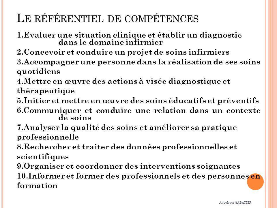 L E RÉFÉRENTIEL DE COMPÉTENCES 1.Evaluer une situation clinique et établir un diagnostic dans le domaine infirmier 2.Concevoir et conduire un projet d