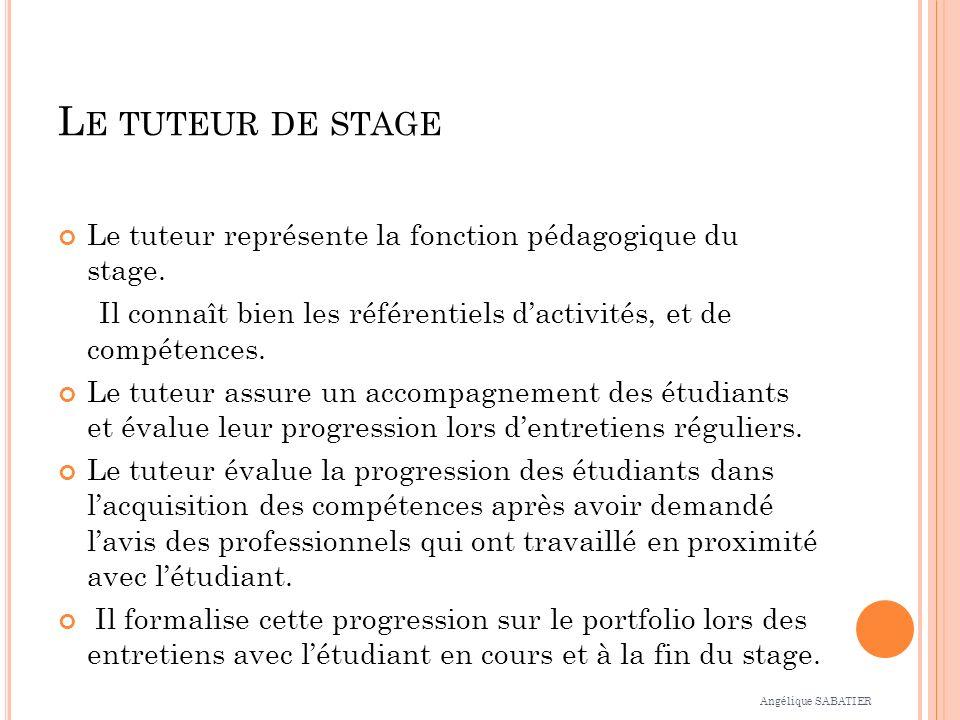 L E TUTEUR DE STAGE Le tuteur représente la fonction pédagogique du stage. Il connaît bien les référentiels dactivités, et de compétences. Le tuteur a