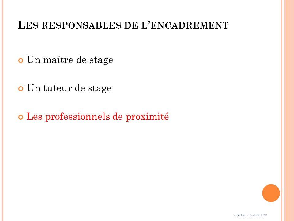 L ES RESPONSABLES DE L ENCADREMENT Un maître de stage Un tuteur de stage Les professionnels de proximité Angélique SABATIER