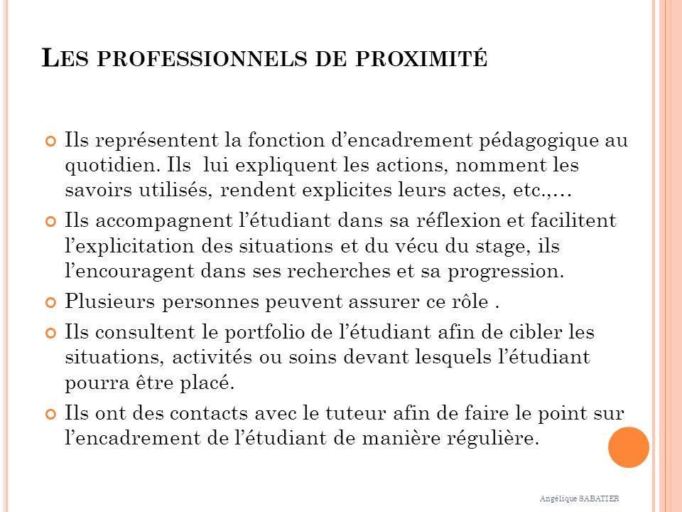 L ES PROFESSIONNELS DE PROXIMITÉ Ils représentent la fonction dencadrement pédagogique au quotidien.