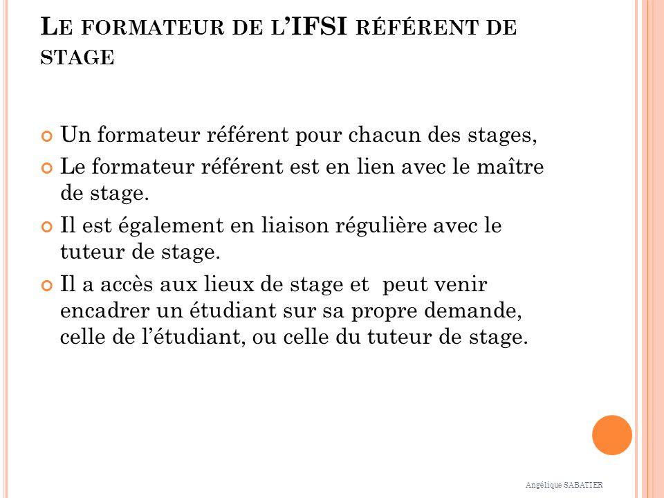 L E FORMATEUR DE L IFSI RÉFÉRENT DE STAGE Un formateur référent pour chacun des stages, Le formateur référent est en lien avec le maître de stage. Il