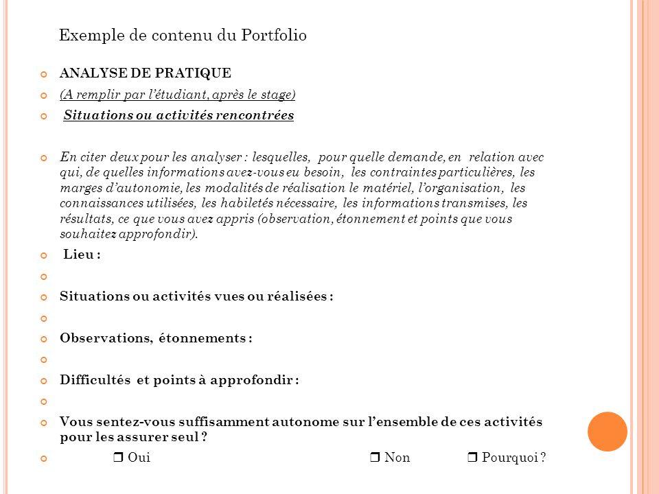 Exemple de contenu du Portfolio ANALYSE DE PRATIQUE (A remplir par létudiant, après le stage) Situations ou activités rencontrées En citer deux pour l