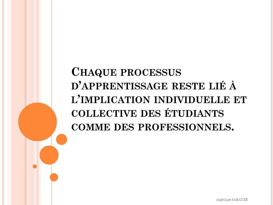 C HAQUE PROCESSUS D APPRENTISSAGE RESTE LIÉ À L IMPLICATION INDIVIDUELLE ET COLLECTIVE DES ÉTUDIANTS COMME DES PROFESSIONNELS.