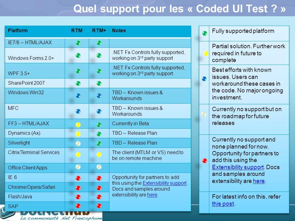 45 Quel support pour les « Coded UI Test ? »