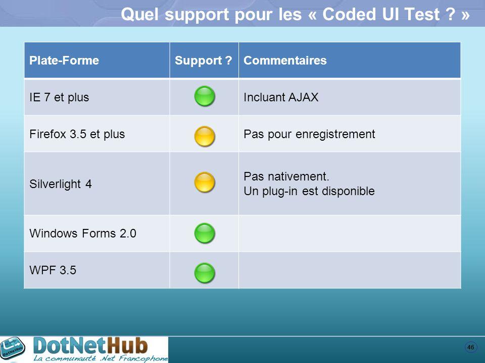 46 Quel support pour les « Coded UI Test ? » Plate-FormeSupport ?Commentaires IE 7 et plusIncluant AJAX Firefox 3.5 et plusPas pour enregistrement Sil