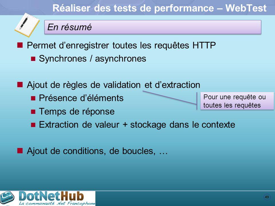 49 En résumé Réaliser des tests de performance – WebTest Permet denregistrer toutes les requêtes HTTP Synchrones / asynchrones Ajout de règles de vali