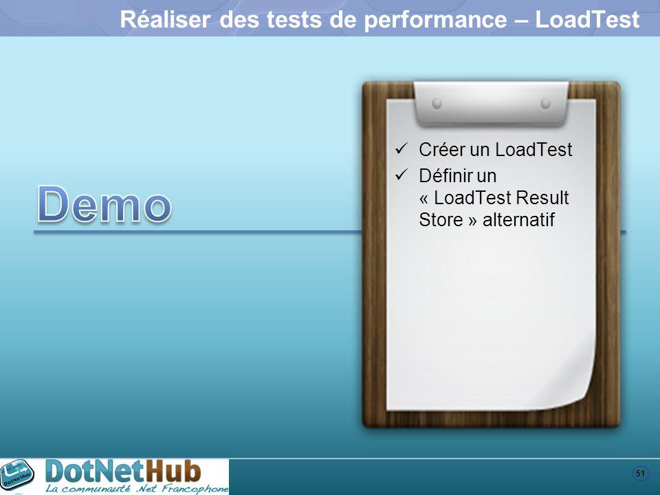 51 Réaliser des tests de performance – LoadTest Créer un LoadTest Définir un « LoadTest Result Store » alternatif