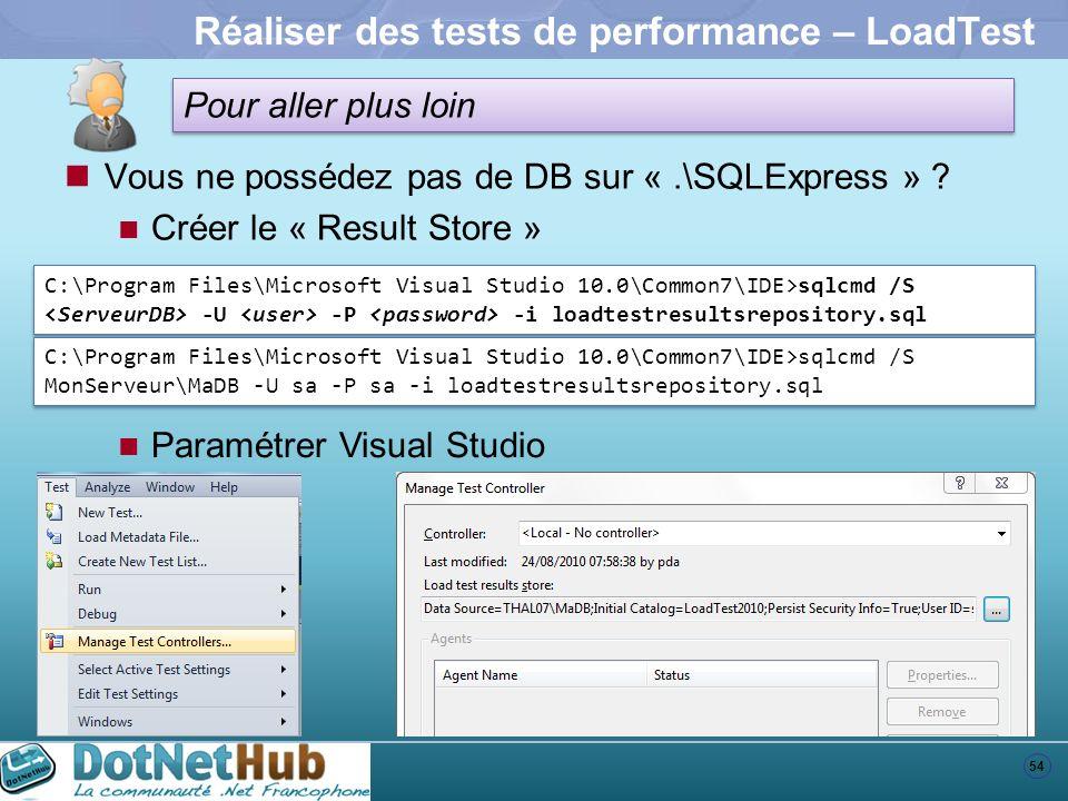 54 Pour aller plus loin Réaliser des tests de performance – LoadTest Vous ne possédez pas de DB sur «.\SQLExpress » ? Créer le « Result Store » C:\Pro