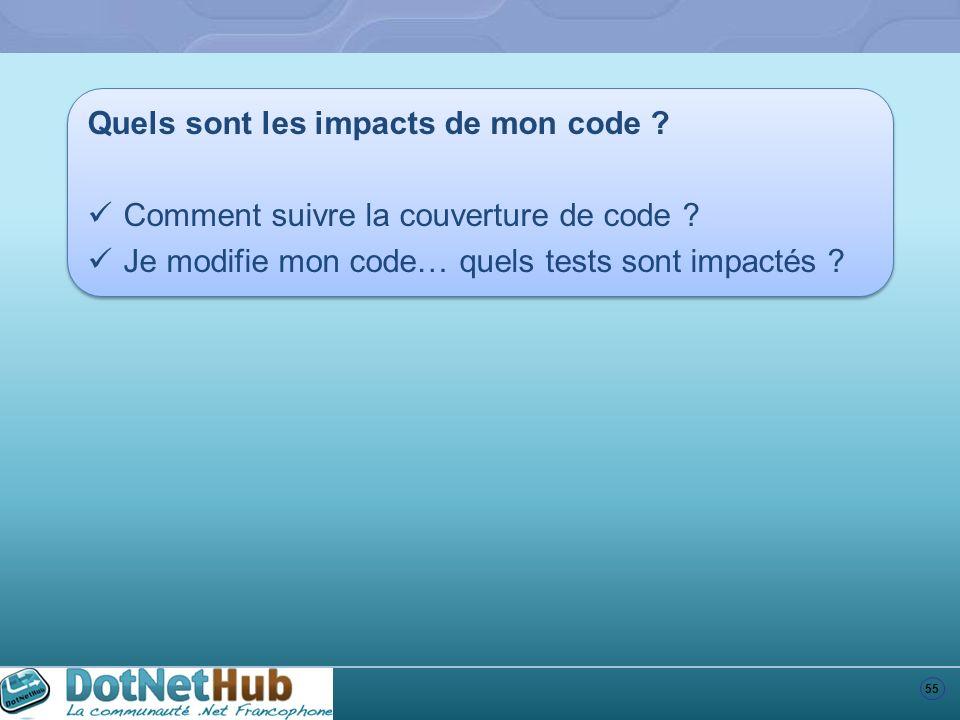 55 Quels sont les impacts de mon code ? Comment suivre la couverture de code ? Je modifie mon code… quels tests sont impactés ? Quels sont les impacts