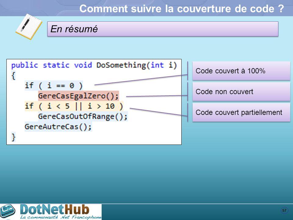57 En résumé Comment suivre la couverture de code ? Code couvert à 100% Code non couvert Code couvert partiellement