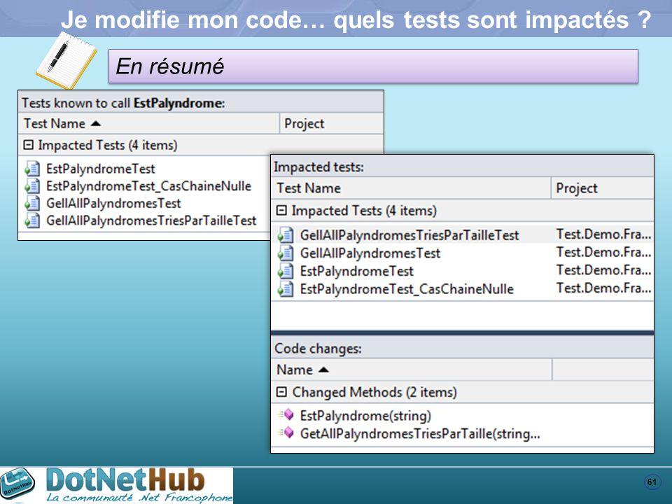 61 En résumé Je modifie mon code… quels tests sont impactés ?