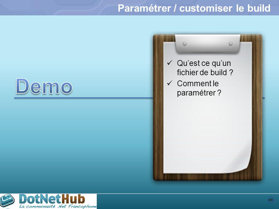 69 Paramétrer / customiser le build Quest ce quun fichier de build ? Comment le paramétrer ?