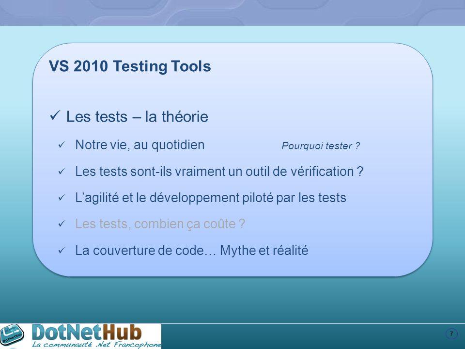 7 VS 2010 Testing Tools Les tests – la théorie Notre vie, au quotidien Pourquoi tester ? Les tests sont-ils vraiment un outil de vérification ? Lagili