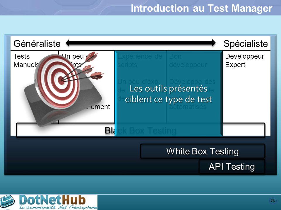 76 Introduction au Test Manager GénéralisteSpécialiste Tests Manuels Un peu de scripts Crée des scripts pour préparer lenvironnement Expérience de scr