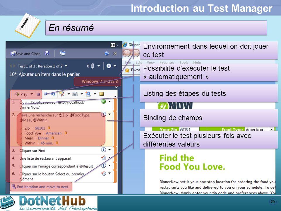 79 En résumé Introduction au Test Manager Environnement dans lequel on doit jouer ce test Possibilité dexécuter le test « automatiquement » Listing de