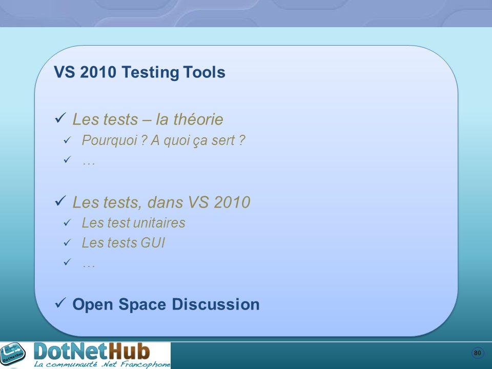 80 VS 2010 Testing Tools Les tests – la théorie Pourquoi ? A quoi ça sert ? … Les tests, dans VS 2010 Les test unitaires Les tests GUI … Open Space Di