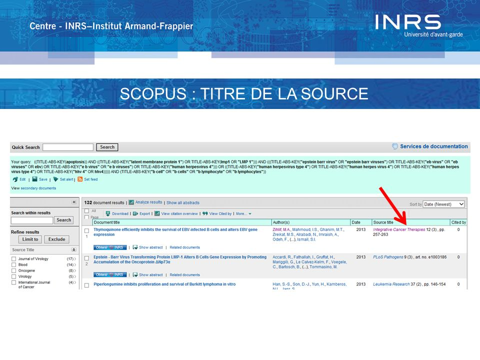 SCOPUS : TITRE DE LA SOURCE