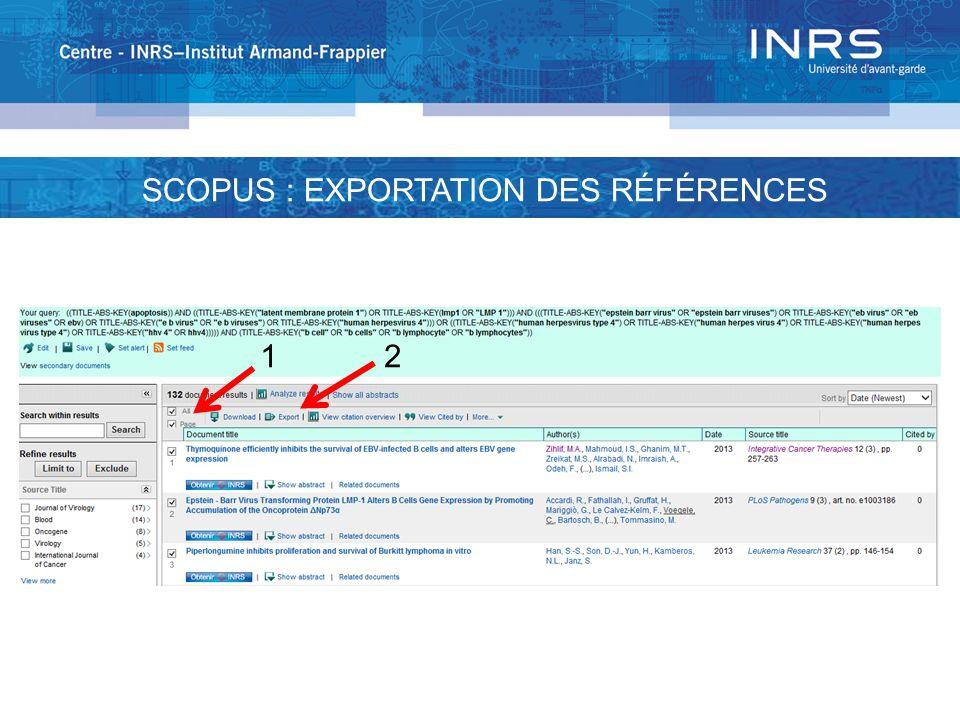 12 SCOPUS : EXPORTATION DES RÉFÉRENCES