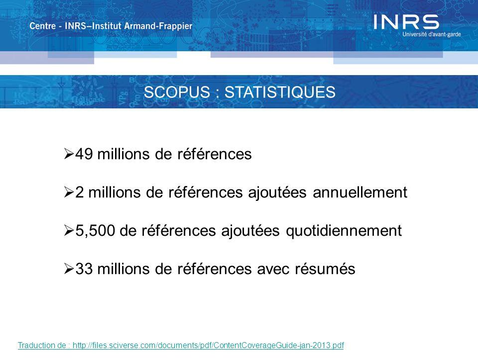 SCOPUS : STATISTIQUES 49 millions de références 2 millions de références ajoutées annuellement 5,500 de références ajoutées quotidiennement 33 millions de références avec résumés Traduction de : http://files.sciverse.com/documents/pdf/ContentCoverageGuide-jan-2013.pdf