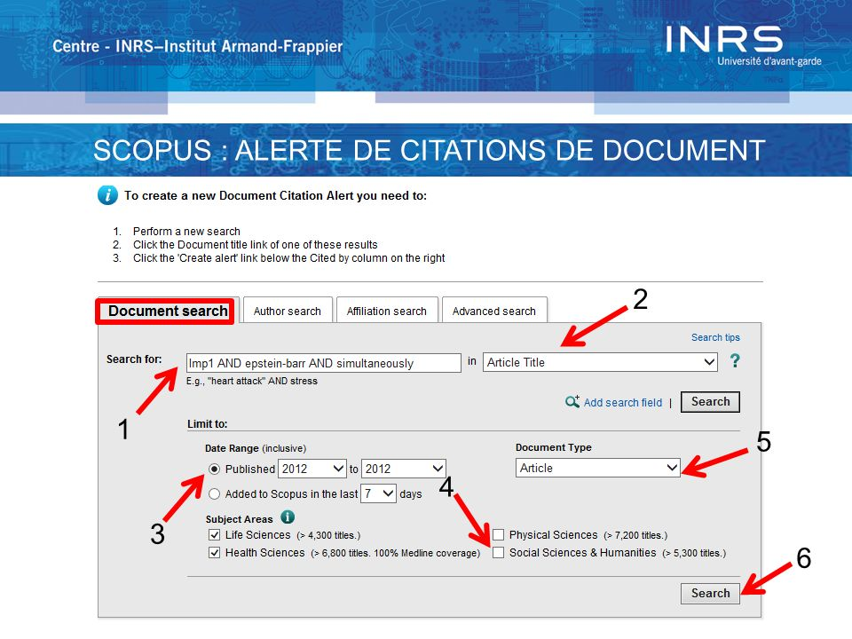 1 2 3 4 5 6 SCOPUS : ALERTE DE CITATIONS DE DOCUMENT