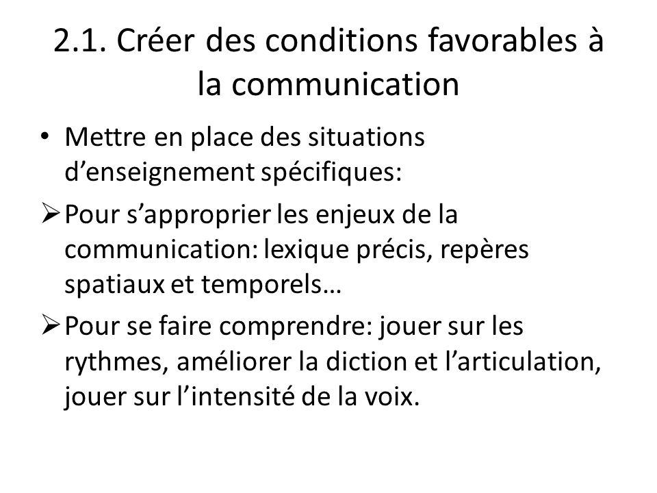 2.1. Créer des conditions favorables à la communication Mettre en place des situations denseignement spécifiques: Pour sapproprier les enjeux de la co